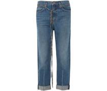 Woman Pswl Canvas-trimmed Boyfriend Jeans Mid Denim