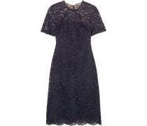 Cotton-blend Corded Lace Dress Navy