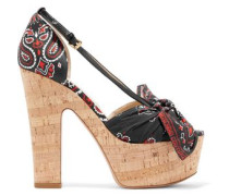 Leather and printed voile cork sandals