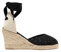 Lace-up  canvas and lace wedge espadrilles