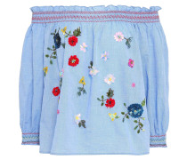 Off-the-shoulder Embroidered Cotton-chambray Top