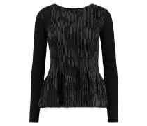 Pleated Jacquard Peplum Top Schiefer
