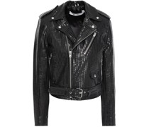 Moji Striped Glossed-leather Biker Jacket