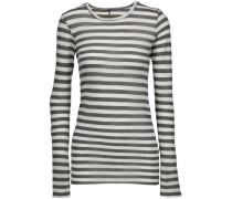 Striped Pima Cotton Top Weiß