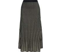 Emily Pleated Metallic Crochet-knit Midi Skirt