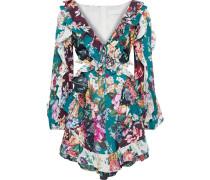 Allia Spliced Cutout Ruffled Floral-print Linen Mini Dress