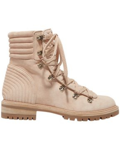 Woman Quilted Suede Ankle Boots Blush