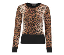 Wool, Cotton And Silk-blend Jacquard-knit Sweater Leoparden-Print