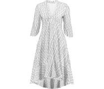 Embroidered Woven Wool-blend Dress Elfenbein