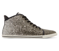 Glittered Canvas Sneakers Silber