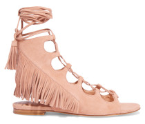 Azzia Fringed Suede Sandals Puder