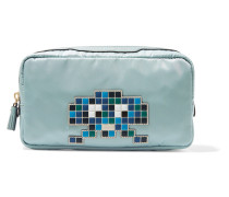 Cables & Chargers Leather-trimmed Shell Cosmetic Case Graugrün