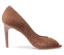 Elinor Laser-cut Suede Sandals Braun