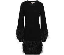 Feather-embellished Knitted Dress