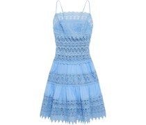 Joya Crocheted Lace And Cotton-blend Voile Mini Dress