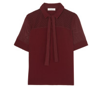 Evora Embroidered Lace Paneled Top Bordeaux