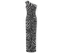 One-shoulder Frayed Metallic Zebra-jacquard Gown