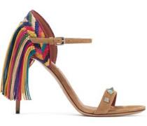 Rockstud Rolling fringed suede sandals