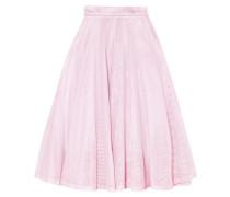 Metallic pleated cotton-mesh midi skirt
