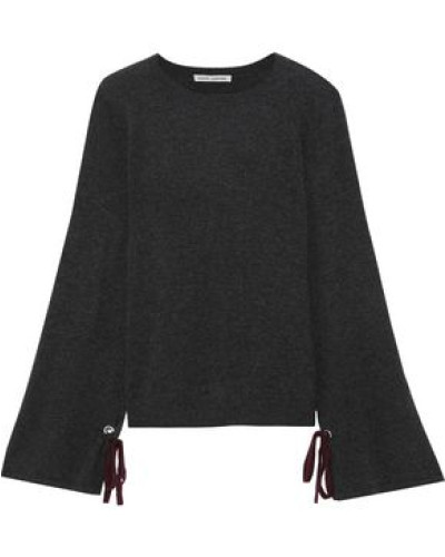 Bow-detailed Mélange Cashmere Sweater Dark Gray