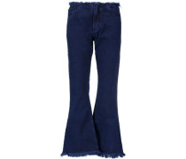 Mid-rise frayed flared jeans