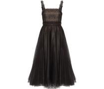 Embellished pleated tulle midi dress