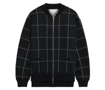 Checked Knitted Bomber Jacket
