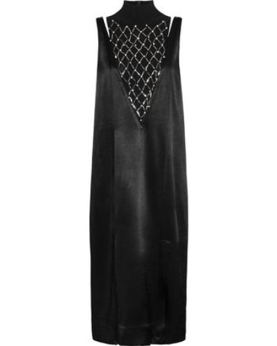 Leosa Embellished Chiffon-paneled Satin Midi Dress Black