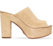 Elsa Suede Platform Sandals Beige