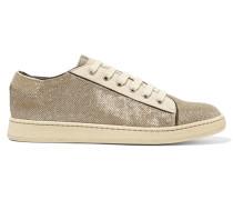 Metallic Canvas And Suede Sneakers Beige