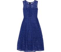 Pleated Embroidered Tulle Midi Dress Ultramarin