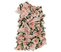 Minikleid aus Georgette mit Floralem Print, Rüschen und Asymmetrischer Schulterpartie