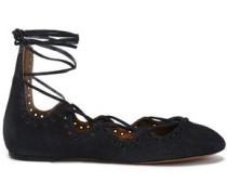 Embellished lace-up suede ballet flats