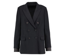 Double-breasted wool-blend crepe jacket