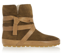 Nygel Leather And Shearling Ankle Boots Braun
