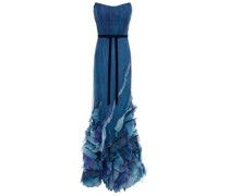 Strapless Ruffled Organza-trimmed Printed Tulle Gown