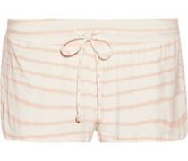 Striped stretch-jersey pajama shorts