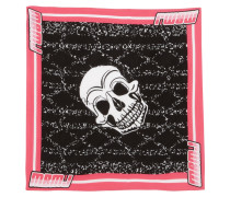 Skull-print Cotton Scarf Pink