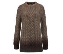 Ombré Cable-knit Merino Woolsweater Schokoladenbraun