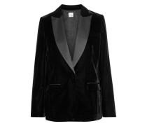 Kai Satin-trimmed Velvet Blazer Black