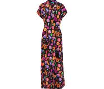 Printed Silk-crepe Kimono Mehrfarbig