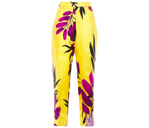 Woman Printed Silk-twill Straight-leg Pants Yellow