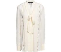 Walton pussy-bow studded silk-georgette blouse