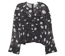 Woman Pleated Floral-print Chiffon Top Black