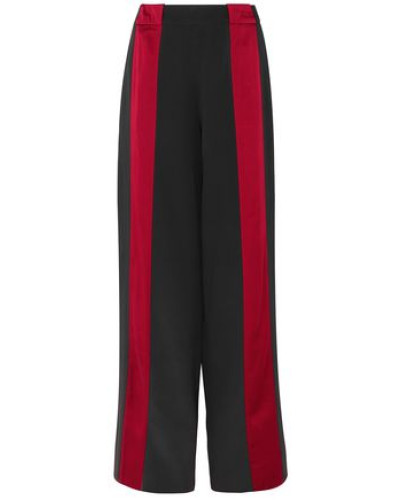 Woman Satin-trimmed Crepe Wide-leg Pants Black