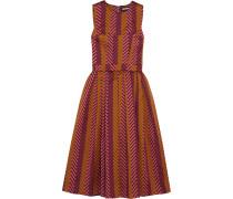 Pleated Chevron Jacquard Dress Burgunder