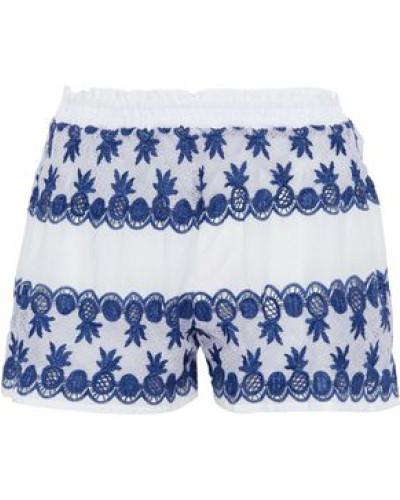 Cotton Poplin-paneled Crocheted Shorts White