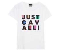 T-shirt aus Baumwoll-jersey mit Print und Glitter-finish