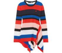 Asymmetric striped wool sweater