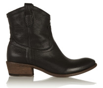 Carson Textured-leather Ankle Boots Black